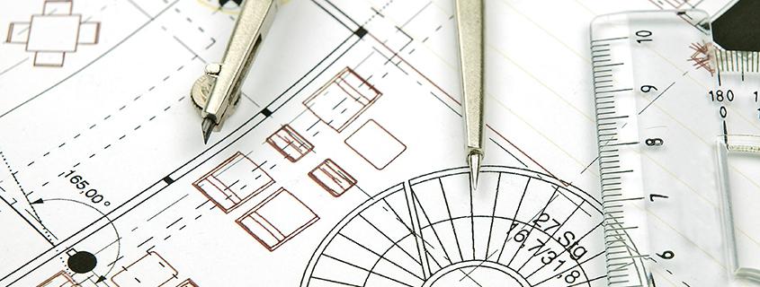 Architekten-Plan mit Zirkel und Lineal
